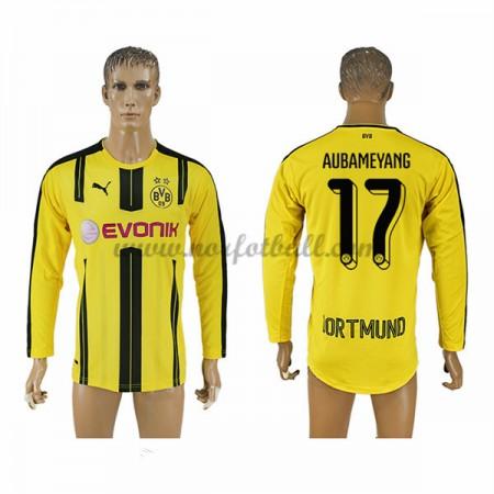 Billige Fotballdrakter BVB Borussia Dortmund 2016-17 Aubameyang 17 Hjemme Draktsett Langermet