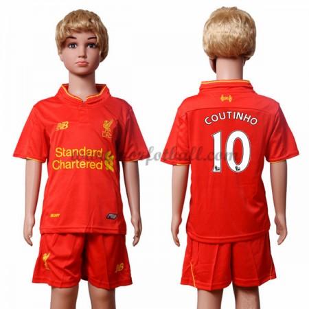 Billige Fotballdrakter Liverpool 2016-17 Coutinho 10 Barn Hjemme Draktsett Kortermet
