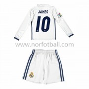 Billige Fotballdrakter Real Madrid 2016-17 James 10 Barn Hjemme Draktsett Langerme..