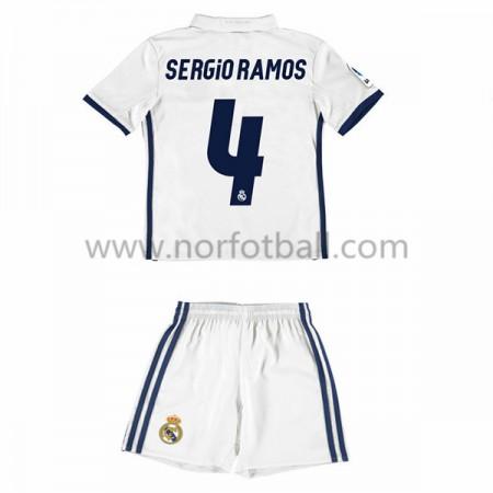Billige Fotballdrakter Real Madrid 2016-17 Sergio Ramos 4 Barn Hjemme Draktsett Kortermet