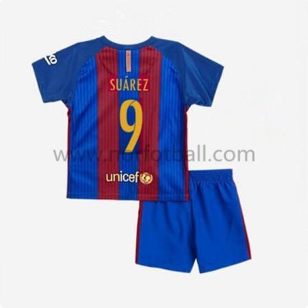 Billige Fotballdrakter Barcelona 2016-17 Suarez 9 Barn Hjemme Draktsett Kortermet