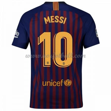 Billige Fotballdrakter Barcelona 2018-19 Lionel Messi 10 Hjemmedrakt Kortermet