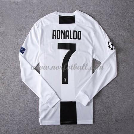 Billige Fotballdrakter Juventus 2018-19 Cristiano Ronaldo 7 Hjemmedrakt Langermet