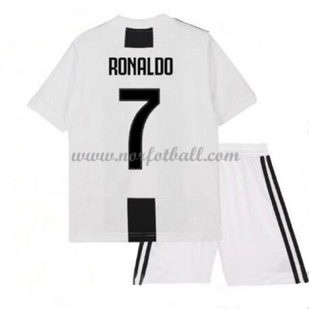 Billige Fotballdrakter Juventus Barn 2018-19 Cristiano Ronaldo 7 Hjemme Draktsett Fotball Kortermet